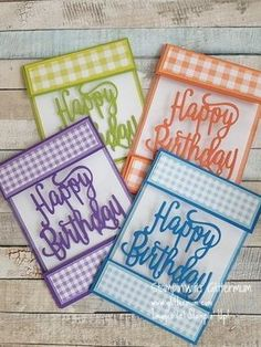 Floating cards using Stampin; Gingham Gala papers and Happy Birthday thinlit… Floating Cards with Stampin; Gingham Gala papers and happy birthday thinlits Cricut Birthday Cards, Birthday Cards For Women, Bday Cards, Cricut Cards, Birthday Crafts, Handmade Birthday Cards, Stampin Up Cards, Female Birthday Cards, Card Birthday