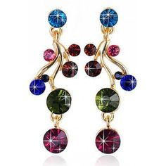 LUCLUC Rhinest Swirl Stud Earrings (14 BAM) ❤ liked on Polyvore