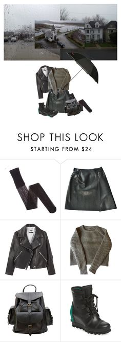 """""""rainy"""" by idonthaveanideaformyusername ❤ liked on Polyvore featuring Armani Exchange, Chanel, Acne Studios, Grafea, SOREL and SWIMS"""