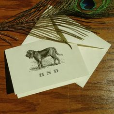 Bloodhound Personalized Stationery, great gift for dog lovers, custom stationery set 100% Cotton Savoy