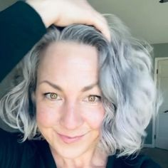 Getting great hair days has never been easier (or cleaner). I've finally found the non-toxic, curly girl products of my dreams. Grey Curly Hair, Short Grey Hair, Curly Hair Care, Curly Hair Styles, Curly Girl, Grey Wig, Older Women Hairstyles, Cool Hairstyles, Everyday Hairstyles
