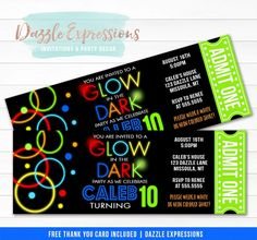 """Celebrating aboys glow in the dark or neon lightsbirthday party soon?Invite your guests in style with this customand affordable glow in the dark ticketbirthday invitation.This design is characterized by it'sblack background, bright colors and """"glowing"""" ringsart work. It isperfect to celebrate your birthday kid or any type of event!"""