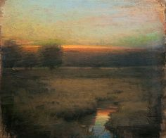 """Red Twilight"" oil by John Felsing, Michigan painter capturing the ethereal aspects of nature, b.1954"