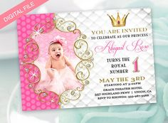Items Similar To Princess Birthday Party Invitation For Girl Evite Electronic Invite Digital DIY You Print On Etsy