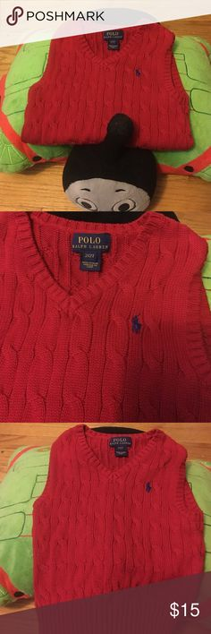 Red Ralph Lauren Sweater Vest 2t Red sweater vest with navy polo 2t/cable king sweater/perfect for the holidays/I have two vests. Polo by Ralph Lauren Shirts & Tops Sweaters