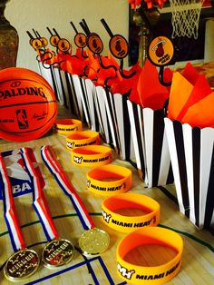 Miami Heat or basketball birthday party decorations Basketball Baby Shower, Basketball Birthday Parties, 13th Birthday Parties, Sports Birthday, Birthday Party Decorations, Boy Birthday, Birthday Basket, Kids Sports Party, Basketball Room