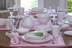 Bauer Pottery ... Love this table setting. My next inspiration in my pink and white home.