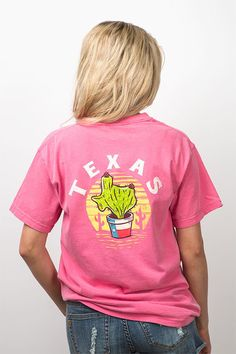 Stay on trend with a little Texas flair in this Lone Star Cactus shirt! A new tee design in bright colors from your favorite Comfort Colors brand! Buy now!