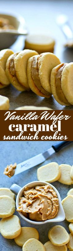 A rich caramel filling is sandwiched between classic homemade vanilla wafers and the combo is out of this WORLD! These vanilla wafer caramel sandwich cookies are a must try.