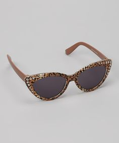 Take a look at the Black & Brown Rhinestone & Leopard Cat Eye Sunglasses on #zulily today!