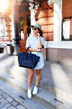 Khaki cap & sweater dress