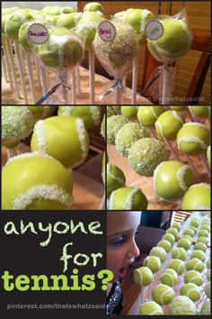 tennis ball cake pops can someone make these for me?!?!?!? - For sure, someone can do it! Check this out here http://belfit.com