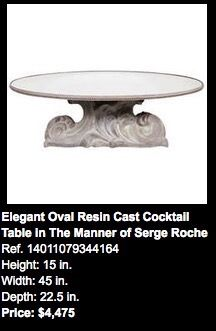 "Where-High Style Deco // What- IMG-2076 (Elegant Oval Resin Cast Cocktail Table) // Size-15""H X 45""W X 22.5""D // Price- $4,475.00 // ***Needs to be Painted to match 30 Rock building/finishes***"