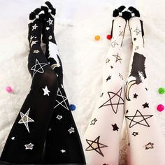 Night moon stars pastel kawaii stockings · Cute Kawaii {harajuku fashion} · Online Store Powered by Storenvy Harajuku Fashion, Japan Fashion, Cute Fashion, Fashion Outfits, Fashion Ideas, Kawaii, Princess Style, More Cute, Stars And Moon