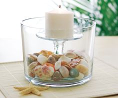 Bring the beach to your table. Place the Trifle Bowl stem inside the bowl then fill with sand and sea shells.