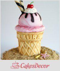 Giant Ice Cream Cake - Cake by Laura Loukaides - CakesDecor Giant Ice Cream, Ice Cream Cone Cake, Ice Cream Party, Cream Cake, Fondant Cakes, Cupcake Cakes, Shoe Cakes, 3d Cakes, Dessert Original