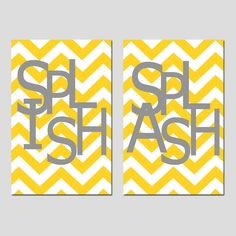 Kids Bathroom Wall Art Print Set   Pick TWO 11x17 Chevron Prints   Wash,  Brush Part 93