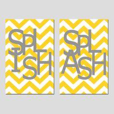 Kids Bathroom Wall Art Print Set - Pick TWO 11x17 Chevron Prints - Wash, Brush, Soak, Splish, Splash, Flush - Yellow, Gray, and More. $54.00, via Etsy.