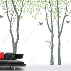Custom PopDecals  Birch trees in the nature garden 2  Beautiful Tree Wall Decals for Kids Rooms Teen Girls Boys Wallpaper Murals Sticker Wall Stickers Nursery Decor Nursery Decals *** See this great product.
