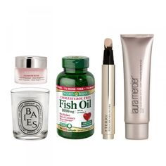 Rose Balm, BY TERRY $60 l Baies Scented Candle, Diptyque $60 l Fish Oil Dietary Supplement, Nature's Bounty $14 l Touche Veloutee Highlighting Concealer, BY TERRY $58 l Tinted Moisturizer, Laura Mercier $43