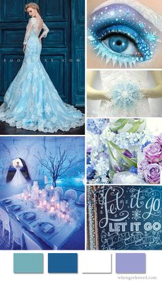 Disney's Frozen Elsa Wedding Inspiration Board - for a true Disney Frozen Fan (maybe not the eye makeup - that's just too much) Frozen Wedding Theme, Disney Inspired Wedding, Wedding Themes, Frozen Theme, Wedding Colors, Wedding Gowns, Disney Weddings, Frozen Wedding Dress, Wedding Disney