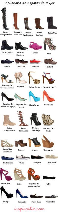 Una guía de tipos de Zapatos de Mujer #mujer #zapatos http://inspirastic.com/tipos-de-zapatos-de-mujer/