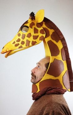 Giraffe head, animal friendly mask, high style African beastie costume.