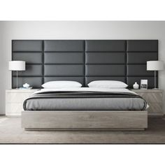 Easily install an elegant upholstered headboard on any type of surface with the Vant Upholstered Headboard Panels. Arrives in a column of panels and available in a variety of sizes/panels, allowing you to create a headboard, accent wall, or focus piece. Grey Upholstered Headboards, Upholstered Wall Panels, Leather Headboard, Headboards For Beds, Panel Headboard, Modern Headboard, Bedroom Wall Panels, Metal Headboards, Accent Wall Panels