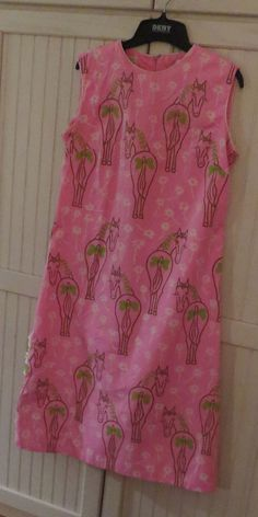 Vintage  Vested Gentress Preppy Pink Horse Dress #VestedGentress