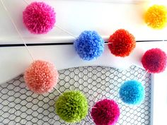 Yarn Pom Garland  bunting home decoration by ShortcakePartyShop