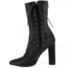Pia Lace Up Ankle Boots In Black Lycra (175 ILS) ❤ liked on Polyvore featuring shoes, boots, ankle booties, black bootie, black lace up bootie, ankle boots, mid calf boots and lace up ankle booties