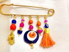 Gypsy charm pin  baby pin  evil eye pin  amulet charm  by Nezihe1