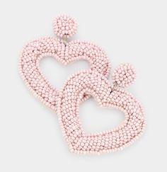 Chunky Bauble Heart Beaded Drop Earrings Blush Pink Bauble Heart Chunky Beaded Open Heart Drop Earrings *New In Package* Pink Tassel Earrings, Mini Hoop Earrings, Statement Earrings, Drop Earrings, Slouch Hat Crochet Pattern, Crochet Rug Patterns, Giraffe Crochet, Fashion Beads, Heart Shaped Earrings