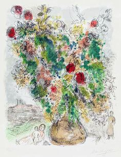 Marc Chagall - 'Roses and Mimosa'