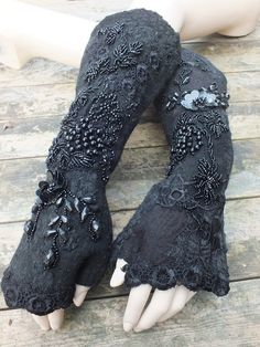 Reserved for PAM .DELILIAH MITTENS, fingerlees, nuno felted. unique.  wictorian, goth Ready to ship.