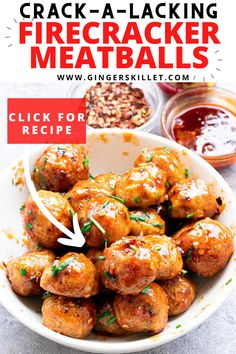 Spicy Chicken Meatballs aka Firecracker meatballs recipe with step-by-step instructions. These spicy and sweet twice-baked chicken meatballs are super easy to make and tastes delicious as an appetizer or in a meal!      #meatballs #firecrackerchicken #firecracker #chicken #chickenmeatballs #firecrackermeatballs Firecracker Meatballs, Firecracker Chicken, Baked Chicken Meatballs, Chicken Meatball Recipes, Air Fryer Dinner Recipes, Appetizer Recipes, Appetizers, Sweet And Spicy Chicken, Tandoori Chicken