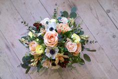 Trailing winter bouquet in peach, lemon, and ivory, Bloomsday Winter Bouquet, Send Flowers, Florists, Cork, Floral Wreath, Lemon, Peach, Wreaths, Home Decor