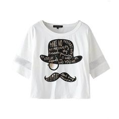 White Hat Mustache Printed Netted Sleeves Tee Top ($24) ❤ liked on Polyvore featuring tops, t-shirts, white, moustache t shirt, graphic tops, loose fit t shirts, loose white tee and white t shirts