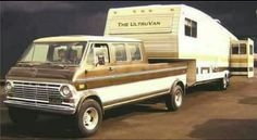 Ford Van & Pickup: With Camper Trailer Vintage Rv, Vintage Trailers, Vintage Trucks, Vintage Campers, Vintage Vans, Vintage Shoes, Ford Lincoln Mercury, Station Wagon, Classic Trucks