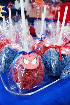 Spiderman Chocolate Covered Apples by Marga by Yummy Piece of Cake, via Flickr