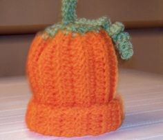Newborn Crocheted Pumpkin Baby Hat  Beanie  by PollyDriveDesigns, $10.00
