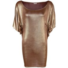 A - M M - E - Drape Top in Gold ($210) ❤ liked on Polyvore featuring tops, leopard print top, brown tops, draped jersey top, long tops and shirred top