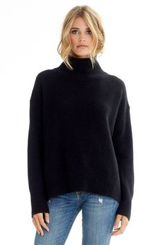 dad43043cfd Luxe high neck pullover Cozy relaxed fit Ribbed trim. 385 grams of 100%  pure cashmere in 5-gauge knit