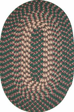 """Hometown 40"""" x 60"""" Braided Rug in Hunter Green by Constitution Rugs LLC. $55.95. 100% Nylon BCF surface yarns. Stitched with Polyester sewing thread. Reversible for added wear. Manufactured 100% in the U.S.A. Rugged Tubular Braid Construction. Our longest selling tubular braid product! Complementary colors both bright and muted are carefully blended into this truly colonial styled rug. Bring the warmth of New England into your kitchen, den or bedroom!"""