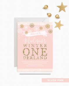 Winter Onederland Invitation Girl First Birthday Party Invite Pink And Gold Birthday Invitation Baby Girl Snowflakes Winter PRINTABLE 5x7 by YourLittlePoster on Etsy https://www.etsy.com/listing/486223565/winter-onederland-invitation-girl-first