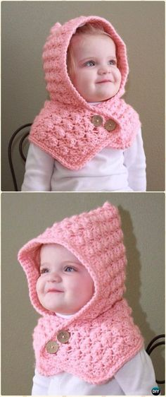 Crochet Textured Toddler Hood Free Pattern - Crochet Hoodie Scarf Free Patterns
