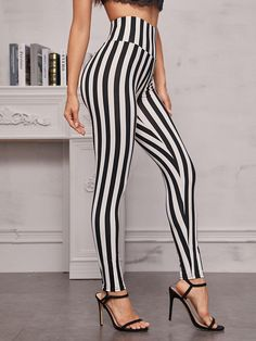 Black And White Pants, Striped Leggings, White Patterns, Pink Grey, Elastic Waist, Modeling Photography, Clothes For Women, Casual, Composition