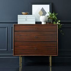 I'm getting this! I'm obsessed with mid-century/modern fusion style furniture! Heston Mid-Century 3-Drawer Dresser - Rosewood #westelm