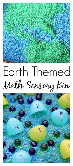 Earth themed math sensory bin - great for teaching kindergarten and preschool math skills in a hands-on way