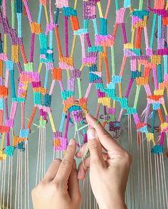 Online portfolio of Brooklyn-based fiber artist Alicia Scardetta. Weaving Textiles, Weaving Art, Tapestry Weaving, Weaving Wall Hanging, Loom Weaving Projects, Fabric Weaving, Tablet Weaving, Yarn Crafts, Diy Crafts